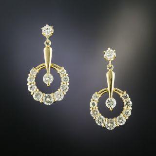 Estate Diamond Crescent Dangle Earrings - 3