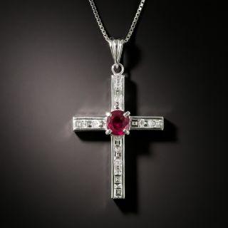 Estate Diamond and Ruby Cross Pendant - 1
