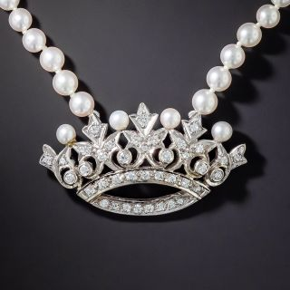 Estate Diamond Crown and Pearl Necklace - 2