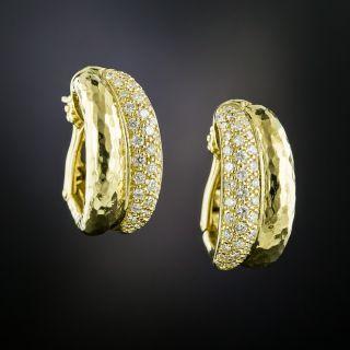 Estate Diamond Double Hoop Earrings - 2