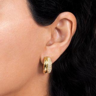 Estate Diamond Double Hoop Earrings