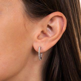 Estate Diamond Half Hoop Earrings