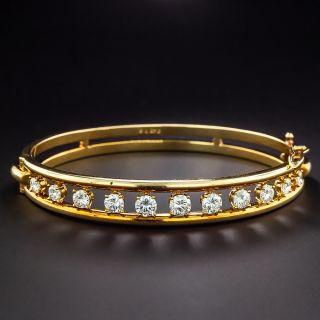 Estate Diamond Hinged Bangle Bracelet - 1