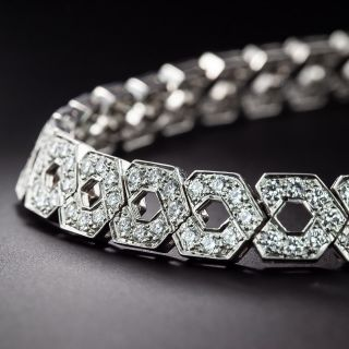 Estate Diamond Link Necklace and Earrings - 3