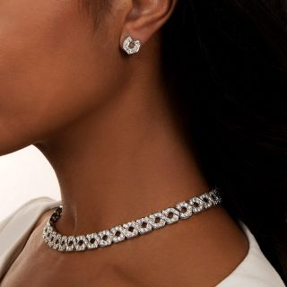 Estate Diamond Link Necklace and Earrings