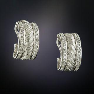 Estate Diamond Rope Motif Hoop Earrings - 2