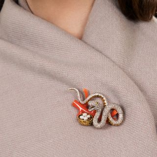 Estate Diamond Snake with Coral Branch and Pearl Brooch