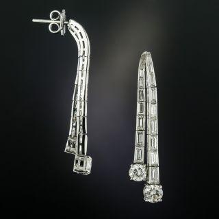 Estate Diamond Waterfall Drop Earrings - 2