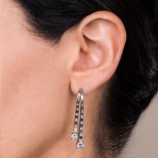 Estate Diamond Waterfall Drop Earrings