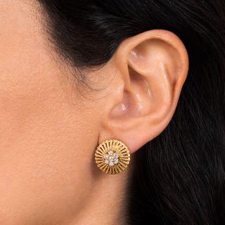 Estate Dome Diamond Cluster Center Earrings