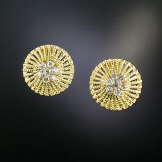 Estate Dome Diamond Cluster Center Earrings - 2