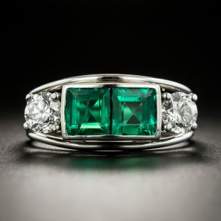 Estate Double Emerald and Diamond Ring - 1