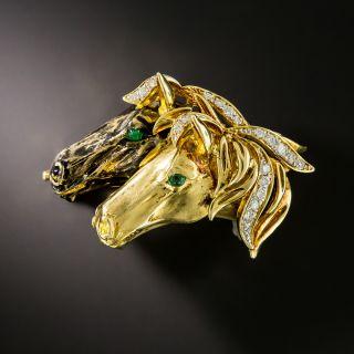 Estate Double Horse Head Brooch - 2