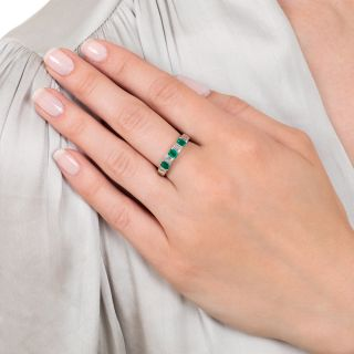 Estate Emerald and Baguette Diamond Band