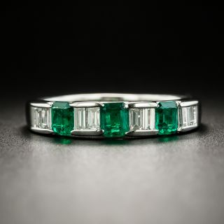 Estate Emerald and Baguette Diamond Platinum Band - 1