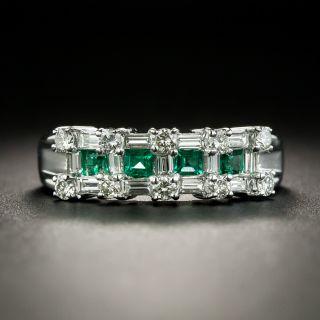 Estate Emerald and Diamond Band Ring - 1