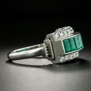 Estate Emerald and Diamond Band Ring