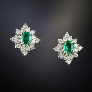 Estate Emerald and Diamond Clusters Earrings - 2