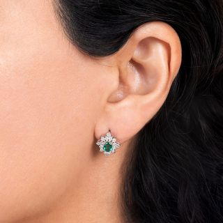 Estate Emerald Platinum Diamond Clusters Earrings