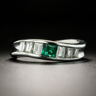 Estate Emerald and Diamond Curved Band Ring - 2