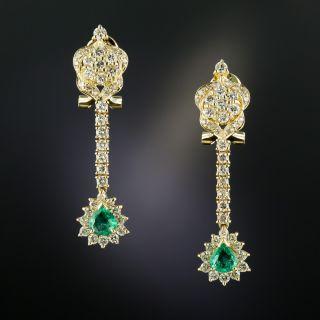 Estate Emerald and Diamond Dangle Earrings - 3