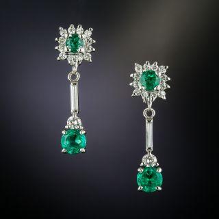Estate Emerald and Diamond Dangle Earrings - 1