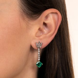 Vintage Style Emerald and Diamond Drop Earrings