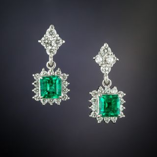 Estate Emerald and Diamond Drop Earrings - 1