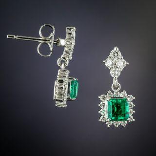 Estate Emerald and Diamond Drop Earrings