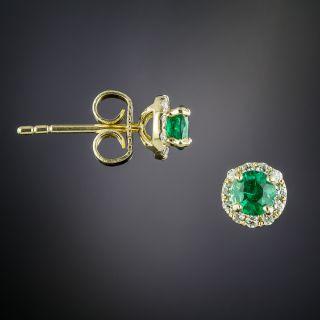 Estate Emerald and Diamond Earrings