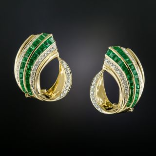 Estate Emerald and Diamond Earrings - 2