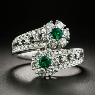 Estate Emerald and Diamond Flower Bypass Ring - 1
