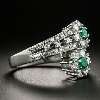 Estate Emerald and Diamond Flower Bypass Ring