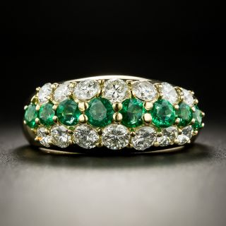 Estate Emerald and Diamond Three Row Band Ring - 2