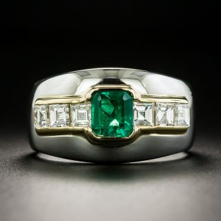 Estate Emerald and Diamond Wide Band Ring - 2