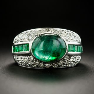 Emerald Cabochon and Diamond Ring - 2