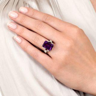 Estate Emerald-Cut Amethyst and Baguette Diamond Ring