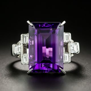 Emerald-Cut Amethyst and Baguette Diamond Platinum Ring - 1