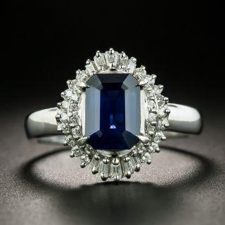 Estate Emerald-Cut Sapphire and Diamond Ring - 1