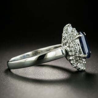 Estate Emerald-Cut Sapphire and Diamond Ring