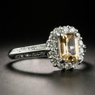 Estate Emerald-Cut Topaz and Diamond Ring