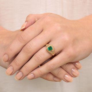 Estate .60 Carat Emerald and Diamond Ring