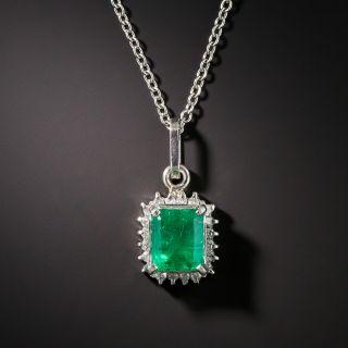 Estate Emerald Platinum Diamond Halo Pendant Necklace - 2