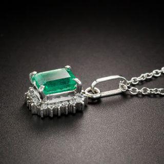 Estate Emerald Platinum Diamond Halo Pendant Necklace