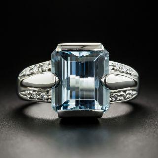 Estate EmeraldCut Aquamarine and Diamond Ring - 1