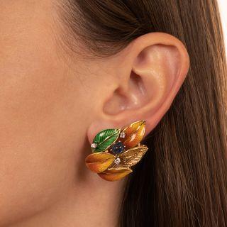 Estate Enamel Leaf, Cabochon Sapphire and Diamond Earrings