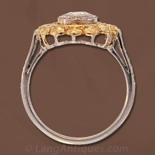Estate Engagement Ring with Fancy Yellow Diamonds