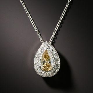 Estate Fancy Colored Pear Shape Diamond Drop - 2