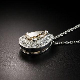 Estate Fancy Colored Pear Shape Diamond Drop