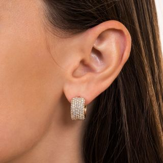 Estate Five-Row Pave Diamond Huggie Earrings